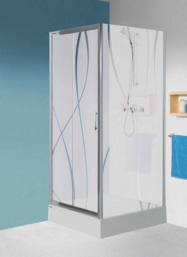 Sanplast DJ/TX5 ajtó+2 db SS0/TX5 fix fal; szögletes, nyílóajtós sarok vagy háromfalas zuhanykabin 100 cm