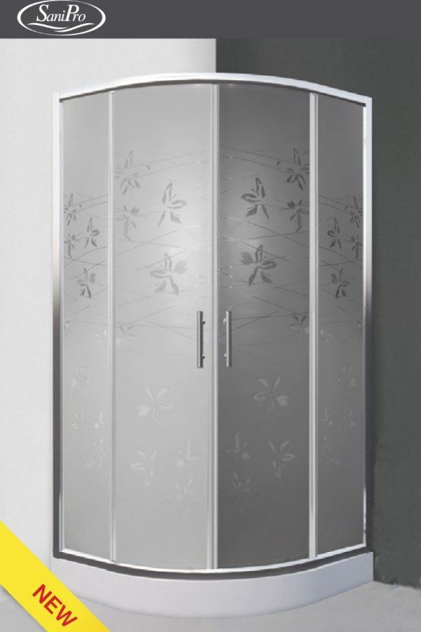 Roltechnik Sanipro Flower Neo íves, keretes, görgős zuhanykabin 90 cm
