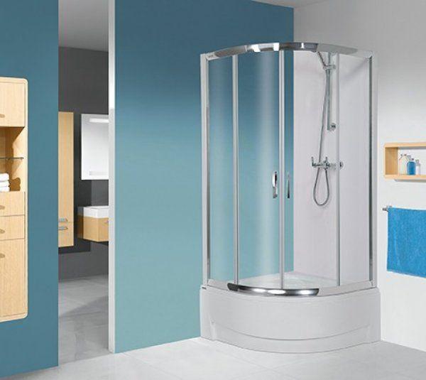 Sanplast KP4-kpl/TX5/165 negyedköríves, mélytálcás sarok zuhanykabin 90 cm